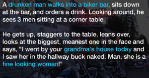 Drunk Older Man Insults An Intimidating Biker At The Bar.  The Biker's Response?  Pure Gold